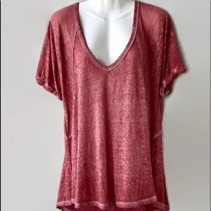 Free People Oversized Plum V-Neck T-Shirt, Small